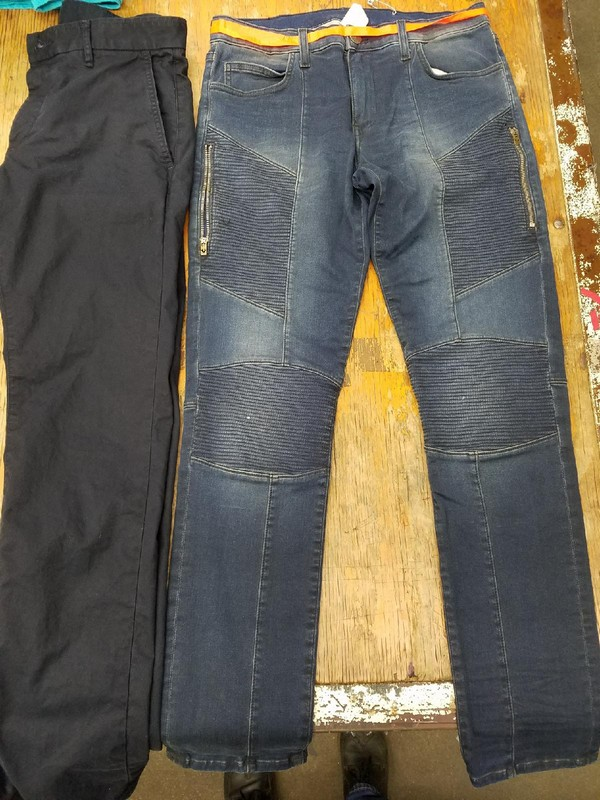 Photo of two jeans showing available samples