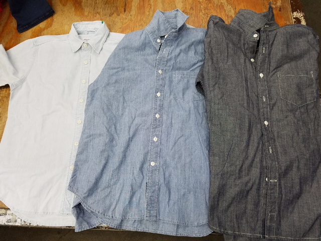 Photo of button up shirts showing available samples